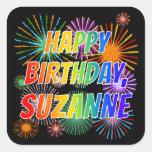 "[ Thumbnail: First Name ""Suzanne"", Fun ""Happy Birthday"" Sticker ]"