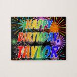 "[ Thumbnail: First Name ""Taylor"", Fun ""Happy Birthday"" Jigsaw Puzzle ]"