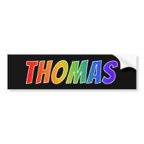 "First Name ""THOMAS"": Fun Rainbow Coloring Bumper Sticker"