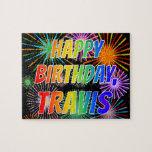 "[ Thumbnail: First Name ""Travis"", Fun ""Happy Birthday"" Jigsaw Puzzle ]"