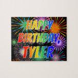 "[ Thumbnail: First Name ""Tyler"", Fun ""Happy Birthday"" Jigsaw Puzzle ]"