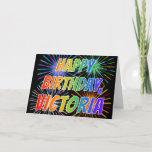 "[ Thumbnail: First Name ""Victoria"" Fun ""Happy Birthday"" Card ]"