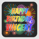 """[ Thumbnail: First Name """"Vincent"""", Fun """"Happy Birthday"""" Sticker ]"""