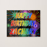 "[ Thumbnail: First Name ""Zachary"", Fun ""Happy Birthday"" Jigsaw Puzzle ]"