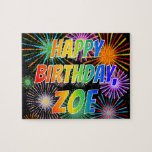 "[ Thumbnail: First Name ""Zoe"", Fun ""Happy Birthday"" Jigsaw Puzzle ]"