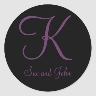 First Names and Last Initial Mauve Monogram K Classic Round Sticker