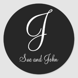 First Names and Monogram J Black and White Seal Classic Round Sticker