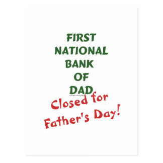 First National Bank of Dad gifts and tees. Postcard