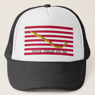 First Navy Jack Don't Tread on Me Flag Stamp Trucker Hat