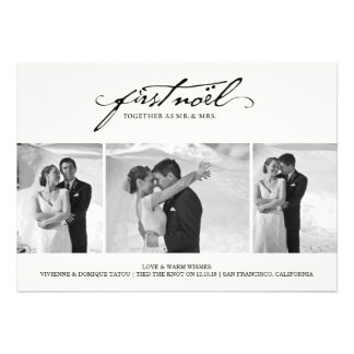 First Noel As Mr Mrs Holiday Photo Greetings Custom Announcement