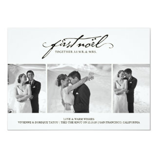 First Noel As Mr. & Mrs. Holiday Photo Greetings 5x7 Paper Invitation Card