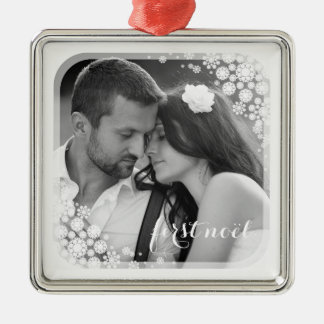 First Noel Snowflakes Frame Holiday Photo Ornament