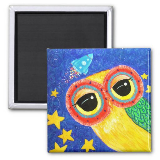 First Owl In Space Fridge Magnets