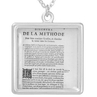 First page of 'Discours de la Methode' by Rene Jewelry