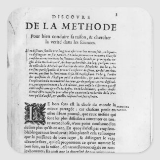 First page of 'Discours de la Methode' by Rene Square Sticker