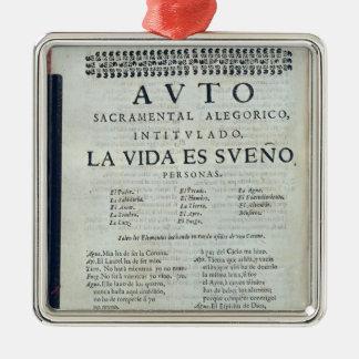 First page of 'La Vida es Sueno' Metal Ornament