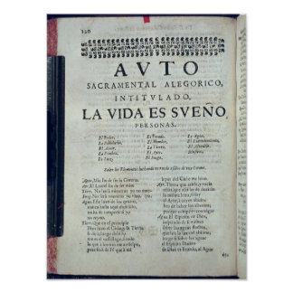 First page of 'La Vida es Sueno' Poster