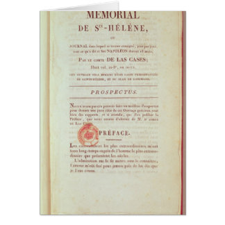 First page of 'Memorial de Sainte-Helene' Card