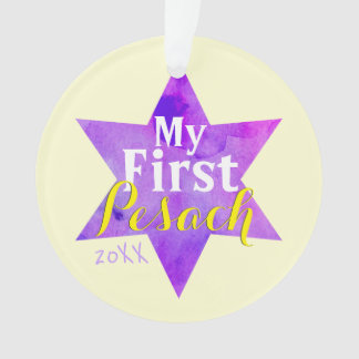 First Pesach with Watercolor Star of David Ornament