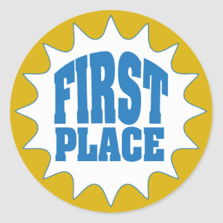 First Place Award Classic Round Sticker