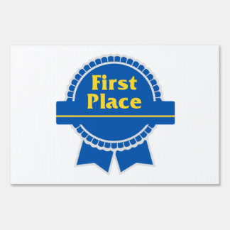 First Place Blue & Gold Ribbon Lawn Sign