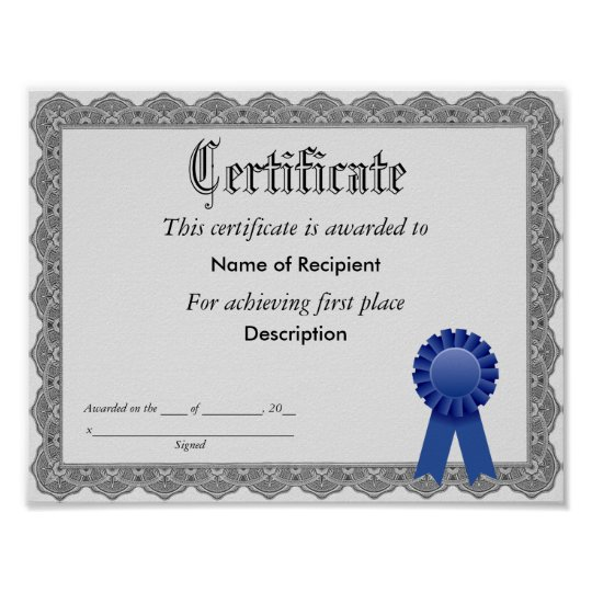 First Place Blue Ribbon Certificate Poster   Zazzle.com