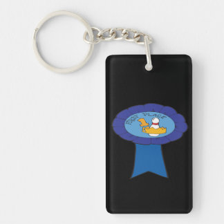 First Place Bowling Ribbon Double-Sided Rectangular Acrylic Keychain