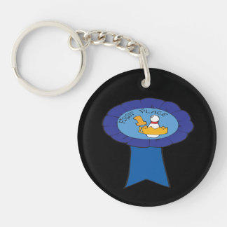 First Place Bowling Ribbon Double-Sided Round Acrylic Keychain