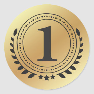First Place Honor Gold Medal With Gold Gradient Classic Round Sticker