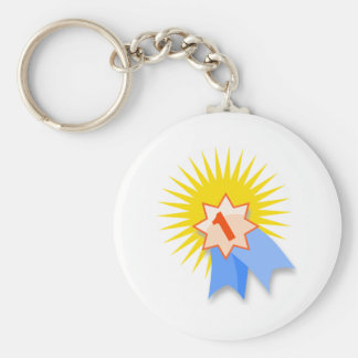 First Place Ribbon Basic Round Button Keychain