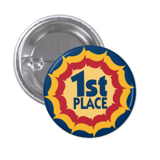 First Place Ribbon Winner Badge 1 Inch Round Button