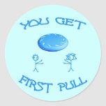First Pull Frisbee Classic Round Sticker