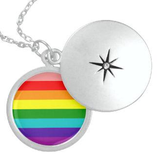 First Rainbow Pride Flag Round Locket Necklace