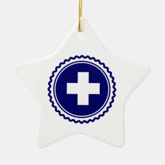 First Responder Blue Health Care Cross Ceramic Ornament