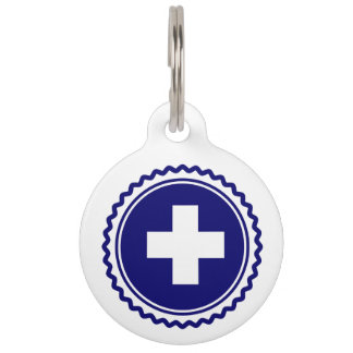 First Responder Blue Health Care Cross Pet Name Tag