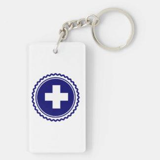 First Responder Blue Health Care Cross Keychain