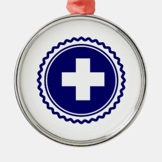First Responder Blue Health Care Cross Metal Ornament