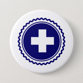 First Responder Blue Health Care Cross Pinback Button