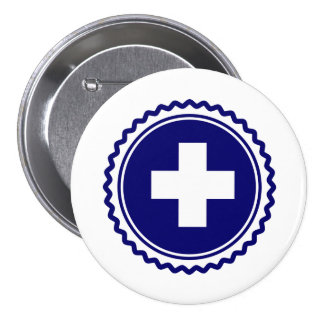 First Responder Blue Health Care Cross Pinback Button
