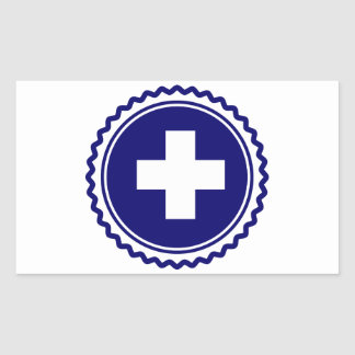 First Responder Blue Health Care Cross Rectangular Sticker