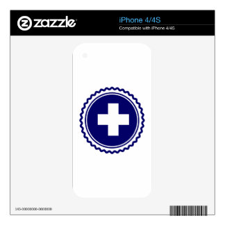 First Responder Blue Health Care Cross Skin For The iPhone 4S