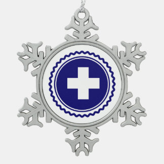 First Responder Blue Health Care Cross Snowflake Pewter Christmas Ornament