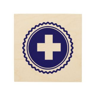 First Responder Blue Health Care Cross Wood Canvases