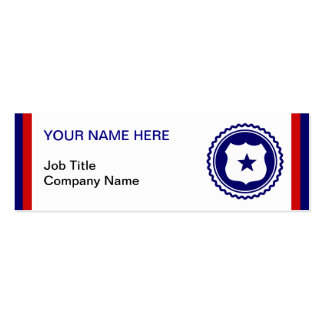 First Responder Blue Police Badge Double-Sided Mini Business Cards (Pack Of 20)