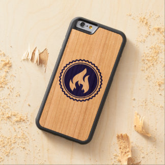 First Responder Firefighter Blue Flame Badge Carved Cherry iPhone 6 Bumper Case