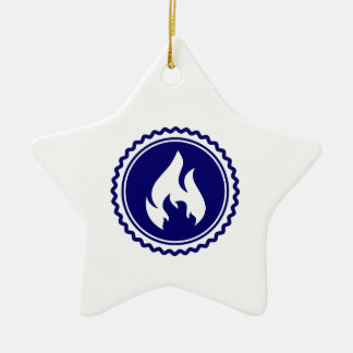 First Responder Firefighter Blue Flame Badge Ceramic Ornament
