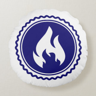First Responder Firefighter Blue Flame Badge Round Pillow