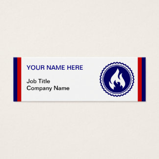 First Responder Firefighter Blue Flame Badge Mini Business Card