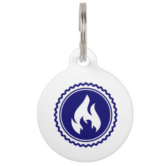First Responder Firefighter Blue Flame Badge Pet Name Tag