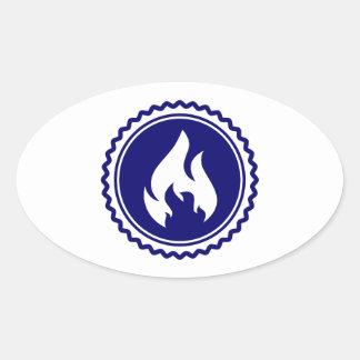 First Responder Firefighter Blue Flame Badge Oval Sticker